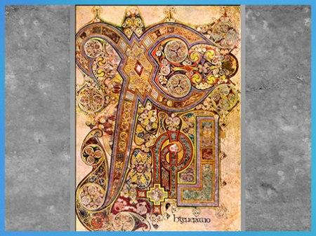 D'après le livre de Kells, khi (X) et rhô (P) ou Incarnation, entrelacs, parchemin enluminé, début IXe siècle, Irlande, art Médiéval haut Moyen âge. (Marsailly/Blogostelle)