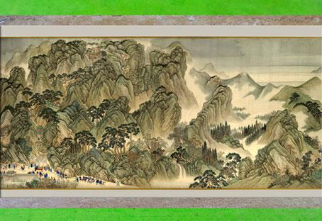 D'après La Visite de l'empereur Kangxi, peinture chinoise, de Wang Hui, 1698, encre et couleur sur soie, début dynastie Qing, Chine ancienne. (Marsailly/Blogostelle)