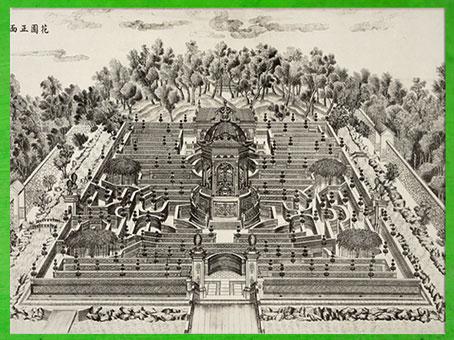 D'après le Palais d'été Yuanmingyuan, jardin de la Clarté parfaite, Giuseppe Castiglione pour l'Empereur Qianlong, dynastie des Qing, gravure 1783-1786. XVIIIe siècle. (Marsailly/Blogostelle)