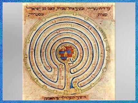D'après un labyrinthe, cité de Jéricho, bible de Farhi, Provence, 1366-1382, XIVe siècle, art hébreu médiéval. . (Marsailly/Blogostelle)