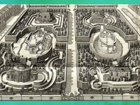 D'après les labyrinthes de la Résidence de Würzburg, inspirés des jardins chinois, de Georges Louis Le Rouge, 1781-1786, Paris, XVIIIe siècle. (Marsailly/Blogostelle)