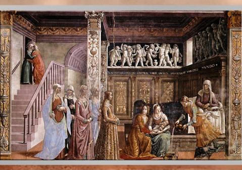 D'après La Naissance de la Vierge, de Domenico Ghirlandaio, 1485-1490, chapelle Tornabuoni, Santa Maria Novella, XVe siècle, Florence, Quattrocento, Renaissance italienne. (Marsailly/Blogostelle)