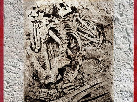 D'après des défunts enlacés, grotte des enfants, Grimaldi, Italie, vers 35 000 - 30 000 ans avjc, paléolithique supérieur. (Marsailly/Blogostelle)