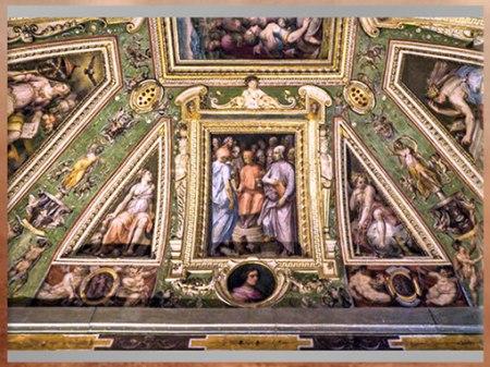 D'après Cosme L'Ancien entouré d'artistes et de savants, fresques de Giorgio Vasari et Marco di Faenza, vers 1560, Palazzo Vecchio, XVIe siècle, Cinquecento, Renaissance italienne. (Marsailly/Blogostelle)