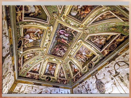 D'après les fresques de Giorgio Vasari et Marco di Faenza, vers 1560, salle de Cosme de Médicis, Palazzo Vecchio, XVIe siècle, Cinquecento, Renaissance italienne. (Marsailly/Blogostelle)
