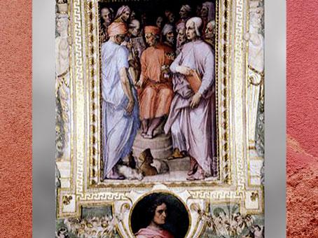 L'Ancien entouré d'artistes et de savants, fresques de Giorgio Vasari et Marco di Faenza, vers 1560, Palazzo Vecchio, XVIe siècle, Cinquecento, Renaissance italienne. (Marsailly/Blogostelle)
