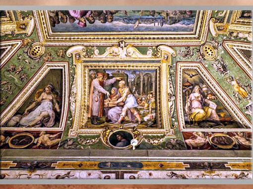 D'après Brunelleschi,  Ghiberti, Cosme de Médicis et la maquette de San Lorenzo, fresques de Giorgio Vasari et Marco di Faenza, vers 1560, Palazzo Vecchio, XVIe siècle, Cinquecento, Renaissance italienne. (Marsailly/Blogostelle)