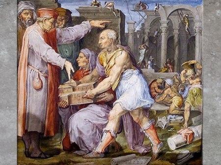 D'après Brunelleschi et Ghiberti montrant la maquette de San Lorenzo à Cosme de Médicis, fresques de Giorgio Vasari et Marco di Faenza, vers 1560, Palazzo Vecchio, Cinquecento, Renaissance italienne. (Marsailly/Blogostelle)