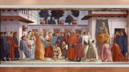 D'après La Résurrection du fils de Théophile et saint Pierre, de Masaccio, vers 1427, fresque, chapelle Brancacci, Santa Maria del Carmine, XVe siècle, Florence. Quattrocento, Renaissance italienne. (Marsailly/Blogostelle)