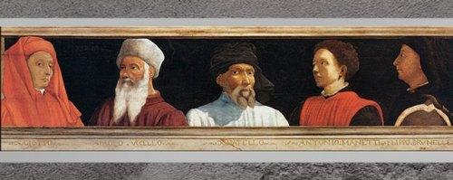 D'après Cinq maîtres de la Renaissance florentine, Giotto, Uccello, Donatello, Manetti et Brunelleschi, anonyme, huile sur bois entoilé, fin XVe siècle-XVIe siècle, Florence. (Marsailly/Blogostelle)