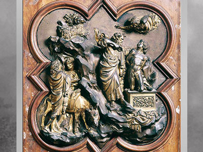 D'après Le Sacrifice d'Isaac, modèle de Ghiberti, 1401, bronze, baptistère de Florence, XVe siècle, Quattrocento, Renaissance italienne. (Marsailly/Blogostelle)