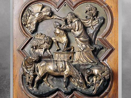 D'après Le Sacrifice d'Isaac, modèle de Brunelleschi, 1401, bronze, baptistère de Florence, XVe siècle, Quattrocento, Renaissance italienne. (Marsailly/Blogostelle)