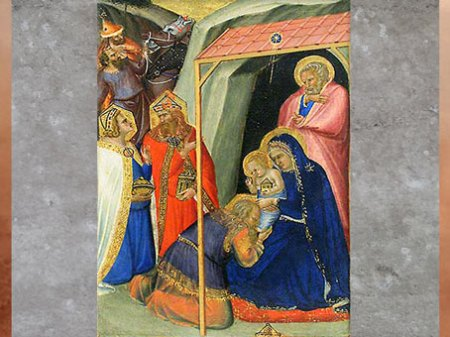D'après L'Adoration des Mages, de Pietro Lorenzetti, Sienne entre 1306 et 1345, XIVe siècle, Trecento italien. (Marsailly/Blogostelle)
