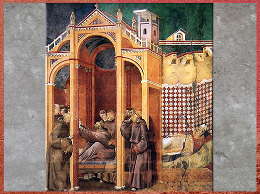 D'après l'Apparition de François à frère Agostino et à l'Evêque Guido d'Arezzo, de Giotto di Bondone, avant 1337, fresque, basilique Saint-François d'Assise, Trecento italien. (Marsailly/Blogostelle)