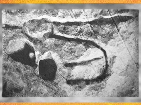D'après une gravure, deux sexes enlacés, abris de Castanet, France, paléolithique supérieur. (Marsailly/Blogostelle)
