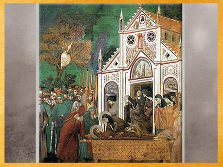 D'après Claire pleurant François, Giotto Di Bondone, vers 1279-1300 apjc, fresque, église supérieure de San Francesco d'Assise, Ombrie, Trecento italien. (Marsailly/Blogostelle)