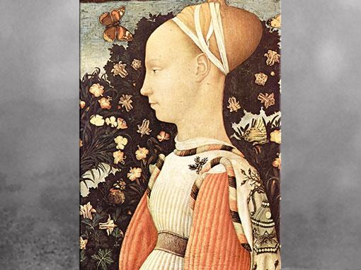 D'après une princesse, de Pisanello (Antonio Puccio), vers 1435 - 1440, Ginevra ou Lucia d'Este ou Marguerite de Gonzague, huile sur bois, XVe siècle, Quattrocento, Renaissance italienne. (Marsailly/Blogostelle)