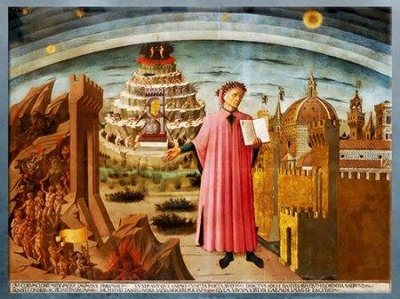 D'après Dante Alighieri, évocation de la Divine Comédie et la de la cité de Florence, de Domenico di Michelino,1465, Florence, XVe siècle, Quattrocento, Renaissance italienne. (Marsailly/Blogostelle)