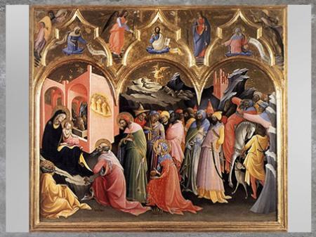 D'après L'Adoration des Mages, de Lorenzo Monaco, 1420, tempera, XVe siècle, Quattrocento, Renaissance italienne. (Marsailly/Blogostelle)