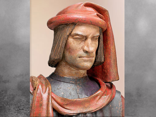 D'après Laurent de Médicis dit le Magnifique, d'Andrea Verrocchio, après 1478, terre cuite polychrome, XVe siècle, Quattrocento, Renaissance italienne. (Marsailly/Blogostelle)