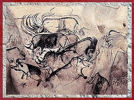 D'après des troupeaux de rhinocéros, grotte Chauvet, art aurignacien, vers 36 000 ans avjc, Ardèche, France, début paléolithique supérieur. (Marsailly/Blogostelle)