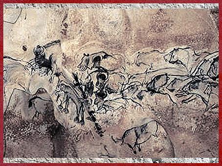 D'après des fauves, grotte Chauvet, art aurignacien, vers 36 000 ans avjc, Ardèche, France, début paléolithique supérieur. (Marsailly/Blogostelle)