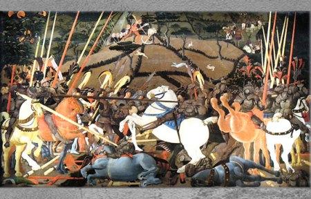 D'après La Bataille de San Romano, de Paolo Uccello, 1456 et 1460, Florence, XVe siècle, Quattrocento, Renaissance italienne. (Marsailly/Blogostelle)