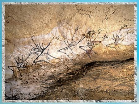 D'après un troupeau de cerfs, grotte de Lascaux, vers 18 000 ans avjc, Magdalénien, Dordogne, paléolithique supérieur. (Marsailly/Blogostelle)