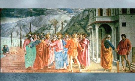 D'après Le Tribut de Saint-Pierre, de Masaccio 1426-1427, fresque, chapelle Brancacci, Santa Maria del Carmine, XVe siècle, Florence. Quattrocento, Renaissance italienne. (Marsailly/Blogostelle)