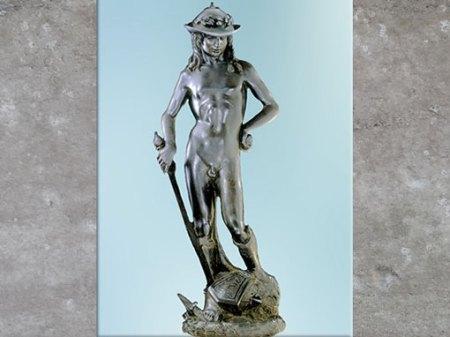 D'après le David de Donatello, statue en bronze, vers 1440, époque de Cosme de Médicis, XVe siècle, Florence, Quattrocento, Renaissance italienne. (Marsailly/Blogostelle)