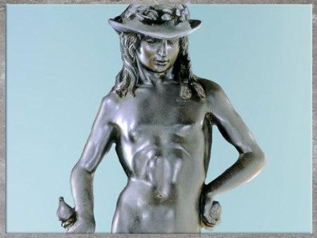 D'après le David de Donatello, statue en bronze, vers 1440, détail, époque de Cosme de Médicis, XVe siècle, Florence, Quattrocento, Renaissance italienne. (Marsailly/Blogostelle)
