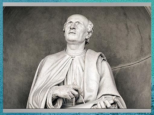 D'après Filippo Brunelleschi, avec compas et plans, de Luigi Pampaloni, 1827-1830, statue en marbre, Piazza del Duomo, Florence. (Marsailly/Blogostelle)