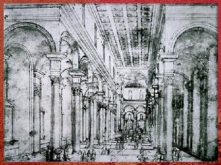 D'après une étude de perspective, de Filippo Brunelleschi, vers 1420, Florence, XVe siècle, Quattrocento, Renaissance italienne. (Marsailly/Blogostelle)