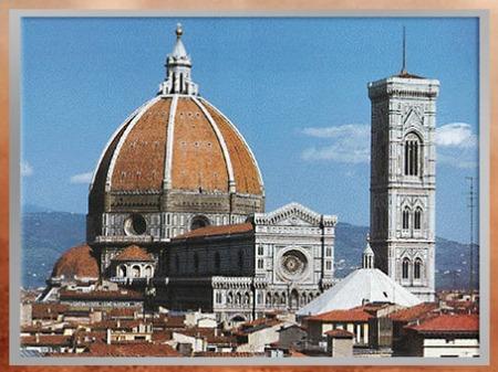 D'après Santa Maria del Fiore, coupole de Filippo Brunelleschi, XVe siècle (campanile de Giotto XIVe siècle), Florence, Quattrocento, Renaissance italienne. (Marsailly/Blogostelle)