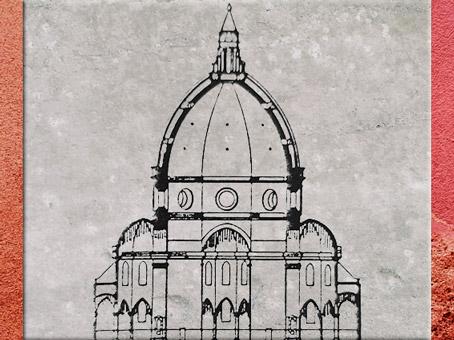 D'après un schéma du dôme, de Filippo Brunelleschi pour Santa Maria del Fiore, selon Piero Sanpaolesi, Renaissance italienne. (Marsailly/Blogostelle)