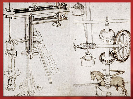 D'après des croquis d'engins imaginés par Filippo Brunelleschi, XVe siècle, Quattrocento, Renaissance italienne. (Marsailly/Blogostelle)