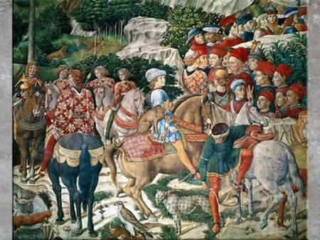 D'après Julien de Médicis, à cheval avec une panthère, Cortège des Mages, de Benozzo Gozzoli, 1459-1462, fresque, chapelle des Médicis (Cappella dei Magi), palazzo Medici-Riccardi, Florence, XVe siècle, Quattrocento, Renaissance italienne. (Marsailly/Blogostelle)