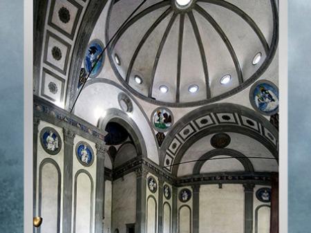 D'après la chapelle Pazzi, de Filippo Brunelleschi, intérieur, vers 1430, Santa Croce, Florence, XVe siècle, Quattrocento, Renaissance italienne. (Marsailly/Blogostelle)