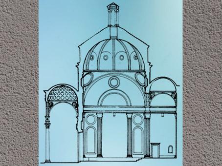 D'après la chapelle Pazzi, étude de Filippo Brunelleschi, vers 1430, Santa Croce, Florence, XVe siècle, Quattrocento, Renaissance italienne. (Marsailly/Blogostelle)