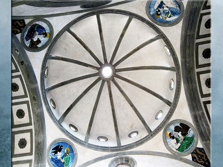 D'après la chapelle Pazzi, coupole, Filippo Brunelleschi, vers 1430, Santa Croce, Florence, XVe siècle, Quattrocento, Renaissance italienne. (Marsailly/Blogostelle)