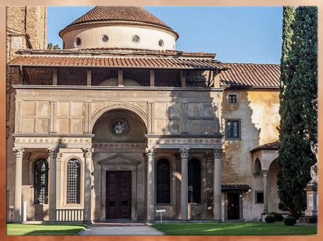 D'après la chapelle Pazzi, façade, Filippo Brunelleschi, vers 1430, Santa Croce, Florence, XVe siècle, Quattrocento, Renaissance italienne. (Marsailly/Blogostelle)