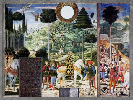 D'après le Cortège des Mages et famille Médicis, de Benozzo Gozzoli, 1459-1462, fresque, chapelle des Médicis (Cappella dei Magi), palazzo Medici-Riccardi, Florence, XVe siècle, Quattrocento, Renaissance italienne. (Marsailly/Blogostelle)