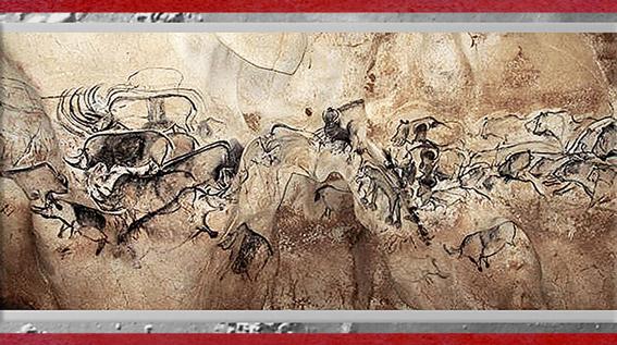 D'après la grotte Chauvet, peintures, vers 36 000 avjc, Pont d'Arc, Ardèche, Aurignacien, paléolithique supérieur. (Marsailly/Blogostelle)