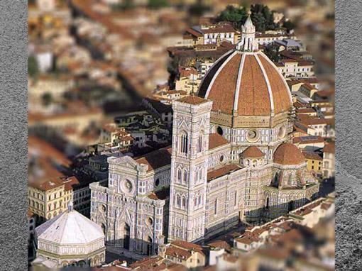 D'après la cathédrale Santa Maria del Fiore, baptistère médiéval, campanile de Giotto (1334), coupole de Brunelleschi (1421-1436), façade du XIXe siècle, Florence, Italie.  (Marsailly/Blogostelle)