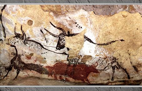 D'après des taureaux et signes, grotte de Lascaux, vers 18 000 -10 000 avjc, magdalénien, Dordogne, paléolithique supérieur. (Marsailly/Blogostelle)
