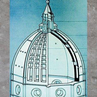 D'après la coupole de Filippo Brunelleschi, schéma, Santa Maria del Fiore, 1421-1436, Florence, XVe siècle, Quattrocento, Renaissance italienne. (Marsailly/Blogostelle)