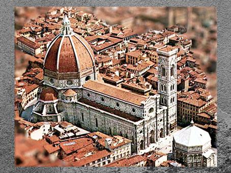 D'après la cathédrale Santa Maria del Fiore, baptistère médiéval, campanile de Giotto (1334), coupole de Brunelleschi, façade du XIXe siècle, Florence. (Marsailly/Blogostelle)