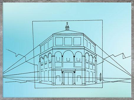 D'après la perspective du baptistère de Florence, étude de Brunelleschi, XVe siècle, Quattrocento, Renaissance italienne. (Marsailly/Blogostelle)