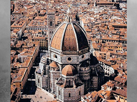D'après la cathédrale Santa Maria del Fiore, coupole de Brunelleschi, Florence, XVe siècle, Quattrocento, Renaissance italienne. (Marsailly/Blogostelle)