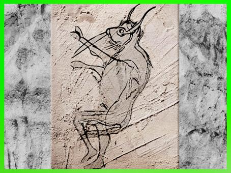 D'après l'homme-bison, grotte des Trois-Frères, croquis de l'abbé Breuil, Magdalénien, Ariège, France, paléolithique. (Marsailly/Blogostelle)